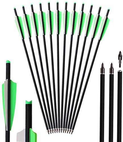 """Kavard Carbon Crossbow Bolts 20 Inch Crossbow Arrows with 4"""" Vanes for Hunting 12Pcs Crossbow Carbon Bolts, Arrowhead Can Be Replaced (20"""" Green)"""