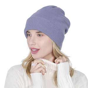 KPWIN Knit Beanies for Women Winter Warm Soft Slouchy Beanie Double Layer Ski Hat Skull Cap Unisex Cuffed Beanie Light Blue