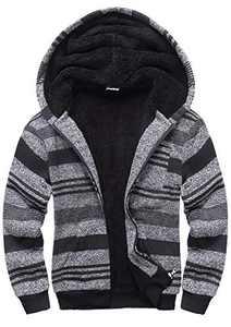 GEEK LIGHTING Boys Sherpa Lined Hoodie Kids Fleece Sweatshirt Full Zip Hooded Jacket (A-Dark Grey,10)
