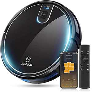 MOOSOO Robot Vacuum Cleaner, Wi-Fi Connected Mapping, 1800Pa Strong Suction, Alexa Voice and APP Control, Super-Thin, Self-Charging Robotic Vacuum, Ideal for Pet Hair Carpet Floor