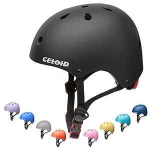 CELOID Kids Skateboard Helmet,Adjustable Washable Youth Skate Scooter Helmet for Age 10-14-16 years Girls Boys climbing Sport,Skateboarding,Bicycle Roller Skating,Rollerblade Balance Bike Helmet,Black