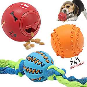 Dog Balls Dog Toy Ball Dog Treat Toy Ball Dog Tooth Cleaning Toy 3 Pack ,Interactive Dog Toys Non-Toxic bite-Resistant Natural Elastic Rubber Balls for Dogs (Color 002)