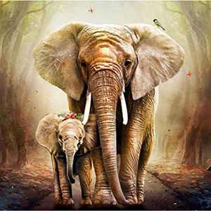 Animal Diamond Painting Kits for Adults and Kids, 5d Diamonds Art with Tools Accessories, Elephant Printing DIY Arts Dotz Craft for Home Décor, Ideal Paintings Gift for Family or Self Use