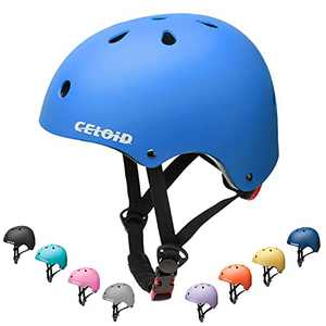 CELOID Kids Skateboard Helmet,Adjustable Washable Youth Skate Scooter Helmet for Age 10-14-16 Years Girls Boys Climbing Sport,Skateboarding,Bicycle Roller Skating,Rollerblade Balance Bike Helmet,Blue