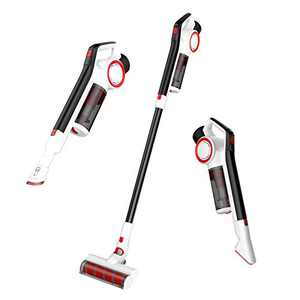 KUPPET Cordless Vacuum Cleaner, 15KPa Powerful Suction 200W Brushless Motor 4 in 1 Stick Vacuum for Home Hard Floor Carpet Car Pet White&RED