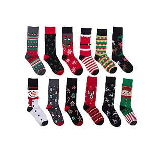 12 Pairs Unisex Premium Cotton Christmas Pattern Dress Socks AL3