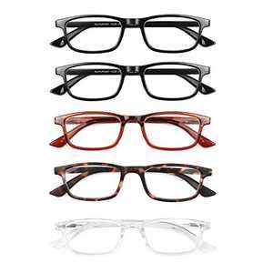 OKH 5-Pack Blue Light Reading Glasses, Spring Hinge Reader for Men and Women Anti Glare UV Filter Eyeglasses (Rectangle, 2.0)
