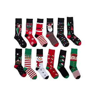 12 Pairs Unisex Premium Cotton Christmas Pattern Dress Socks BL3
