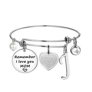 Ursteel Gifts for Mom, Letter J Initial Bracelets Mom Birthday Gifts from Daughters Best Mom Gifts Remember I Love You MOM Charm Bracelets Mother's Day for Mom Birthday Gifts for Mom