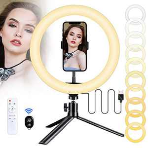 """LED Ring Light 10"""" with Tripod Stand & Phone Holder for Live Stream YouTube Video, Wolady Dimmable Desk Makeup Ring Light for Photography, 3 Light Modes and 10 Brightness Levels"""