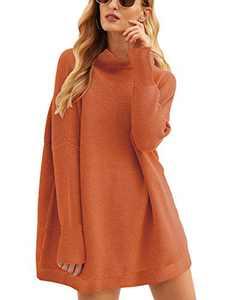 Boncasa Women Cowl Neck Long Batwing Sleeve Oversized Sweater Casual Loose Slouchy Tunics Rust 2BC77-zhuanhong-M