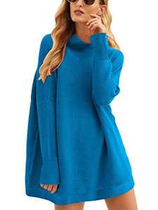 Boncasa Women's Casual Long Sleeve Sleek Mock Neck Sweater Dress Knee Length Oversized Pullover Knitted Tops Royal 2BC77-hailan-L