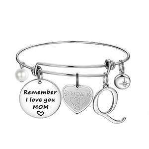 Ursteel Gifts for Mom, Letter Q Initial Bracelets Mom Birthday Gifts from Daughters Best Mom Gifts Remember I Love You MOM Charm Bracelets Mother's Day for Mom Birthday Gifts for Mom