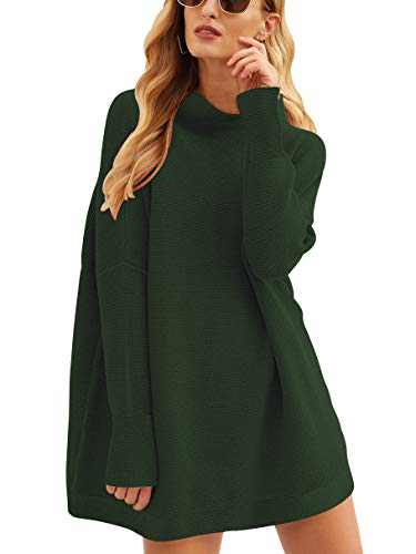 Boncasa Womens Turtleneck Long Sleeve Sweater Casual Loose Knit Sweater Dress Army Green 2BC77-junlv-L