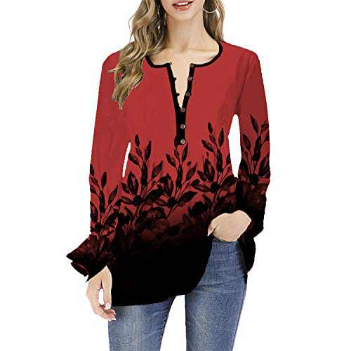 DKKK Floral Tops and Blouses for Office Tunics for Women to Wear with Leggings Ladies Long Sleeve Henley Shirts Button Embellish Ultral Soft Cotton Fabric Fashionable Roomy Attire Tops Red M