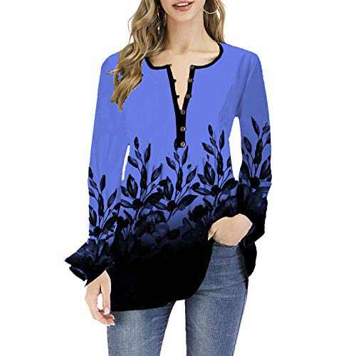 DKKK Printed Tops and Blouses for Women Work V Collar Retro T Shirts Long Sleeve Relaxed Fit Clothing Bottom Soft Knit Cute Tunics Oversized Floral Printing Henley Light Blue XXL