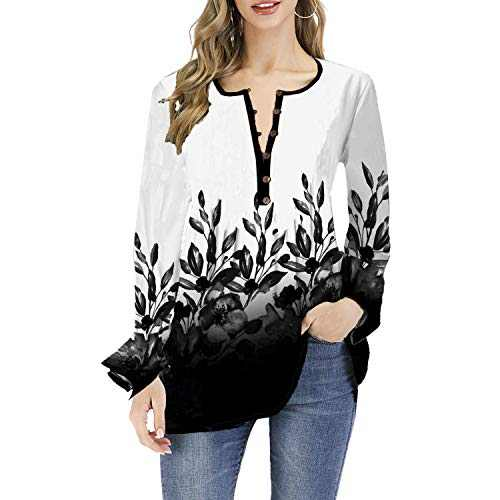 DKKK V Neck Blouses for Women Ladies Pleated Long Sleeve Tunic Button Details Elastic Fabric Flowy Draped Cover Belly Casual Cool Loose Fitting Cotton Petite Tops for Work Black White M