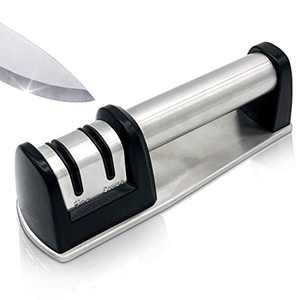 2-in-1 2-Stage Professional Chef Kitchen Knife Sharpener and Scissor Sharpener for Straight and Ceramic knives