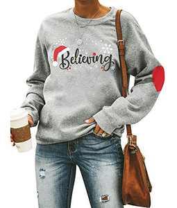 Christmas Believing Sweatshirt Women Santa Hat Pullover Funny Graphic Shirt Holiday Tops Grey