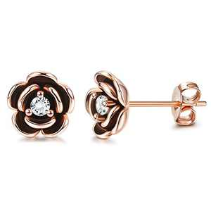 Sllaiss Flower Stud Earrings 925 Sterling Silver for Women White Gold Plated Cubic Zirconia Fine Jewelry Stones From Austrian (Red)