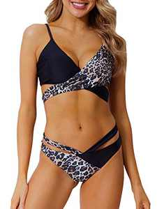 Peddney Women Criss Cross Bikini Swimsuit Cutout Bandage Bikini 2 Piece Bathing Suits