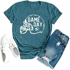 Game Day Shirts for Women Cute Letter Printed Funny Football Graphic Tee Short Sleeve Casual Shirt (Dark Green 2, S)
