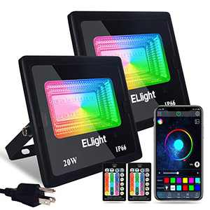Smart LED Flood Lights Outdoor 2 Pack 20W RGB Color Changing Lights, Bluetooth Connected APP Control, IP66 Waterproof, Timing, 2700K-6500K, Perfect for Garden Landscape Stage Lighting, Indoor Room