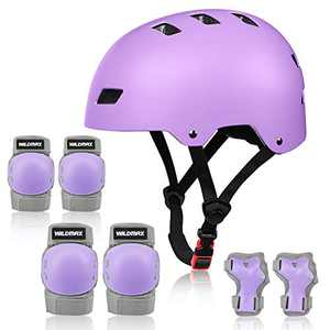 WILDMAX Adjustable Helmet for Youth Kids Toddler Boys Girls Protective Gear with Elbow Knee Wrist Pads for Skateboard Cycling Scooter Roller Skating Sports