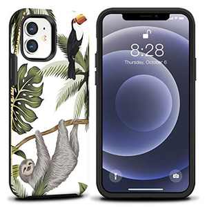 CAFEWICH Case for iPhone 12 Mini (5.4''), Full-Body Protective Shockproof Rugged Hybrid Rubber Silicone Anti-Shock Shatter-Resistant Phone Cover for Women Men for Apple iPhone 12 Mini (Folivora)