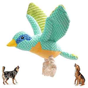 Beewarm Squeaky Dog Chew Toys for Large Medium Small Dogs- Lifetime Replacement Guarantee - Stuffed Animals Rope Chew Toy for Puppy Blue Eyes Bird