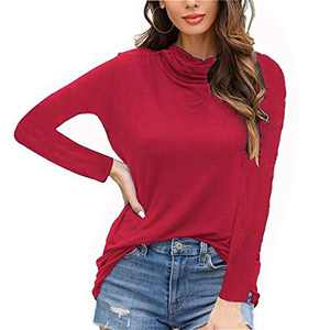 DKKK Exercise Tops for Women Long Sleeve Fitness Shirt Ladies Juniors Stretchy Soft SweatshirtsTops Soft Surroundings Clothes Lightweight Tunic Blouses Oversized Red Wine XL