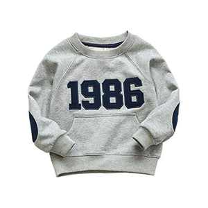 CM C&M WODRO Boys Sweatshirts Pullover T-Shirts Toddler Cotton Cute Tops Tee Long Sleeve Outdoor Outfit (Grey, 4-5T)