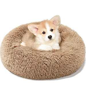 Donut Dog Bed, Faux Fur Donut Cuddler Cat Cushion Bed, Calming Dog Beds for Medium Small Dogs, Self Warming Round Pet Pillow Cuddle, Pet Bed Machine Washable
