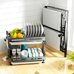 SAYZH 2 Tier Collapsible Dish Rack Foldable Dish Drying Rack with Removable Drainboard Set for Kitchen Countertop, Black
