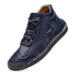 Comfort Mens Casual Shoes Genuine Leather Lace Up Cowhide Vintage Hand Stitching Soft Ankle Boots Blue