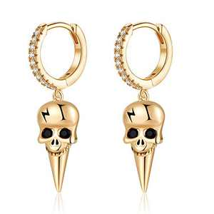 Skull Earrings for Women Huggie Hoop, Hypoallergenic S925 Sterling Silver Post 14K Gold Plated Dainty Skull Dangle Hoop Earrings Small CZ Huggie Earrings Halloween Jewelry Gifts for Women