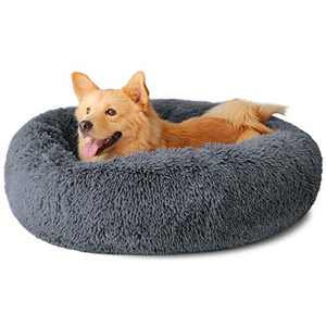 "Dog Bed, Comfortable Round Donut Cuddler Pet Bed, Self-Warming Faux Fur Dog Cat Bed, Soft Plush Calming Bed for Small and Medium Dogs 30"" x 30"", Dark Grey"