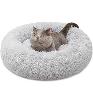 "Dog Bed, Comfortable Round Donut Cuddler Pet Bed, Self-Warming Faux Fur Dog Cat Bed, Soft Plush Calming Bed for Small Dogs and Cats 23"" x 23"", Light Grey"
