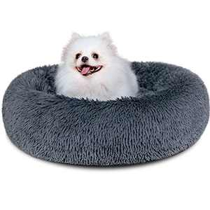 "Dog Bed, Comfortable Round Donut Cuddler Pet Bed, Self-Warming Faux Fur Dog Cat Bed, Soft Plush Calming Bed for Small Dogs and Cats 23"" x 23"", Dark Grey"