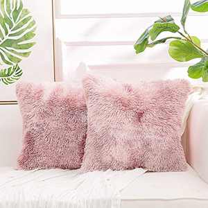 "NordECO HOME Luxury Soft Fur Cushion Cover Pillowcase Decorative Dyed Throw Pillows Covers, No Pillow Insert, 20"" x 20"" Inch, Light Pink, 2 Pack"