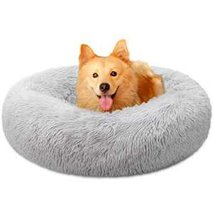 "Dog Bed, Comfortable Round Donut Cuddler Pet Bed, Self-Warming Faux Fur Dog Cat Bed, Soft Plush Calming Bed for Small and Medium Dogs 30"" x 30"", Light Grey"