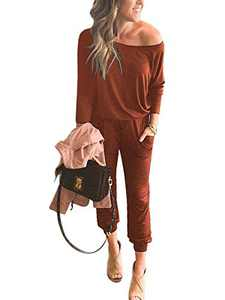 ANRABESS Women Off Shoulder Long Sleeve Beam Foot Casual Capri Jumpsuits with Pockets A42xiuhong-3XL Brick Red