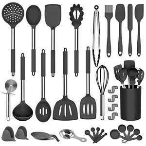 DOPGL Kitchen Utensil Set, 50 Pcs Silicone Cooking Kitchen Utensils Set, BPA Free, Non-Stick Heat Resistant Best Kitchen Cookware with Stainless Steel Handle(Black)