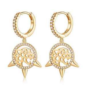 Dreamcatcher Earrings for Women Huggie Hoop, Hypoallergenic S925 Sterling Silver Post 14K Gold Plated Dainty Dreamcatcher Small CZ Dangle Huggie Hoop Earrings Halloween Jewelry Gifts for Women
