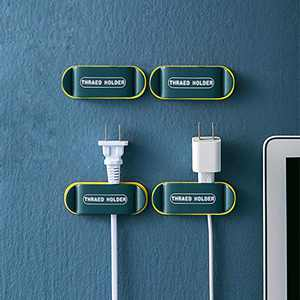 4 Pack Plug Holder & Cable Clips, KRGMNHR Self Adhesive Plug Cord Management for Organizing Office and Home PC Desktop, Cable Cords, USB Mouse Cable Wire, (Blue)