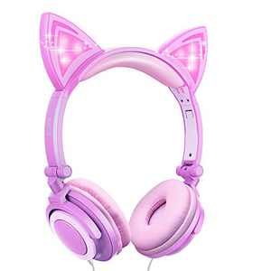 Ifecco Kids Headphones with LED Glowing Cat Ears, Safe Wired Kids Headsets 85dB Volume Limited On Ear Headphones, 3.5mm Audio Jack, Cute Headphones for Girls Boys (Purple Pink)