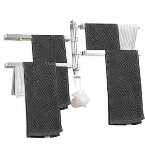 Swivel Towel Bar, Wall Mount Bath Towel Rack, Hand Towel Hanger, Towel Rack for Bathroom, Swing Towel Holders, Stainless Steel Towel Rods for Bathroom, 4-Arm (Silver)