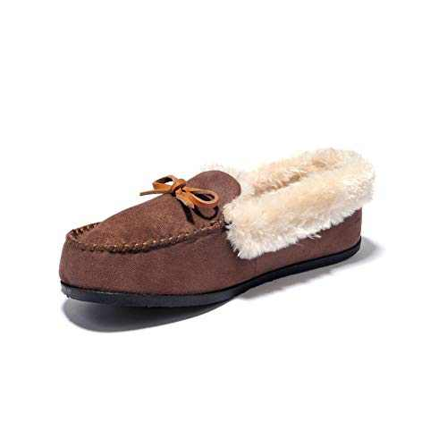 JIUMUJIPU A012,Women's Faux Fur Indoor Shoes House Slippers (BROWN-A012-1, Numeric_6)