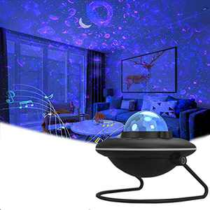 Star Projector, Winique Night Light Projector, UFO Shaped Galaxy Projector with LED Nebula Cloud 7 Light Modes Built-in Bluetooth Music Speaker for Kids Bedroom, Party, Game Room (Black)