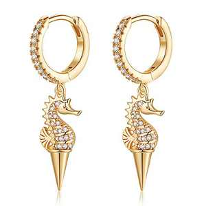 Huggie Hoop Earrings for Women, Hypoallergenic S925 Sterling Silver Post 14K Gold Plated Dainty Hippocampus Dangle Hoop Earrings Small CZ Huggie Earrings Jewelry Gifts for Women